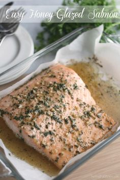 This incredibly delicious Easy Honey-Glazed Salmon recipe is sure to become your family's favorite! With ingredients you already have on hand, dinner will be ready in no time! ~ www.TwoHealthyKitchens.com