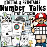 Do you want to teach number talks in your first-grade classroom but feel overwhelmed with the thought of planning a math talk lesson each day? If so, this is the product for you. This yearlong Number Talks Program lessons) is specifically designed for First Grade Classroom, 1st Grade Math, Grade 1, Math Games, Math Activities, Daily Math, Daily Number, Daily 3, Number Talks