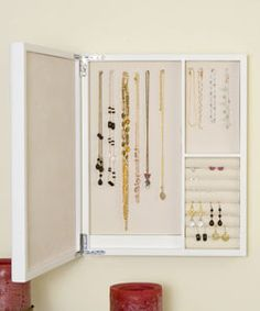 Wall-mounted Mirrored White Jewelry Box