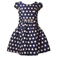 53544b0028779e Bonnie Jean Big Girls Navy Contrast Polka Dot Brooch Christmas Dress 7-16  Bonnie Jean