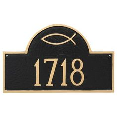 Montague Metal Products Icthus Classic Arch Petite Address Plaque Finish: Aged Bronze/Gold
