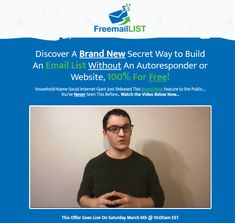 FreeMail List System Review + OTO - by Jeremy Kennedy - Brand New System Secret Free Mail With Build An Email List Without An Autoresponder Or Website, 100% For Free That Help You Making Real Traffic And Potential Sales Produce $200 a Month With An Autoresponder Email Newsletters To Subscribers 100% Free In Just Three Easy Step Free Mail, Free Stuff By Mail, Legal Business, Solo Ads, Squeeze Page, Mass Communication, Email Newsletters, Email List, 100 Free