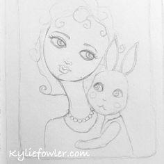 Tonight's sketch.  #sketch #graphite #artjournal #kyliefowler #kyliepepyatfowler #luluart #luluartstore #illustration #drawing #girl #bunny #rabbit #furbaby