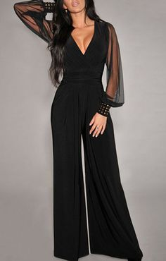 7392ec258c78 Sexy V-Neck Long Sleeve Wide-Leg Jumpsuit For Women  Fashion  Jumpsuit
