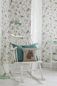 In modern Swedish apartments and houses, you can often watch the solution when one of the walls of the room is decorated with stylish expressive ✌Pufikhomes - source of home inspiration Bird Wallpaper, Pattern Wallpaper, Scandinavian Wallpaper, Interior And Exterior, Interior Design, Toddler Rooms, Kids Rooms, Kids Decor, Home Decor