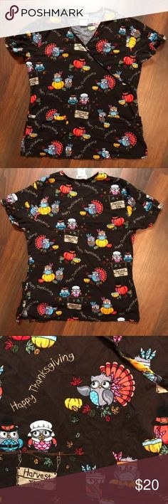 Thanksgiving Turkey Nurse Scrub Top Size Small Thanksgiving Nursing Scrub Top with owls dressed up as turkeys.  Size Small Scrub Star Brand Excellent condition with no signs of wear, tear, or stains. All items come from smoke free and pet free home. Reasonable offers are welcome 102417E ScrubStar Tops Blouses