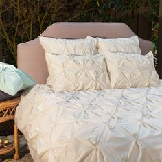 Bedroom inspiration and bedding decor | The Valencia Off-White Pintuck Duvet Cover | Crane and Canopy