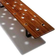 Fizz Bench Modern Bench With Many Holes by Cameron Van Dyke Home Design Inspiration Welded Furniture, Outdoor Furniture, Outdoor Seating, Outdoor Decor, Outdoor Ideas, Mahogany Coffee Table, Wood Facade, Bench Designs, Modern Bench