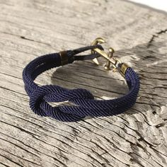 Nautical Square Knot Bracelet with anchor  by byMarisSal on Etsy, $28.00