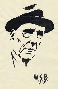 Ink on paper with no preliminary drawing by John Coulthart http://www.johncoulthart.com/feuilleton/2014/02/05/burroughs-at-100/