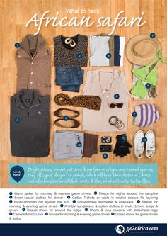 A helpful infographic on what to pack for a safari to Botswana. Africa