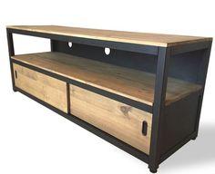 Meuble TV acier et bois avec portes coulissantes