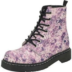 Floral Toile Combat Boots | T.U.K. Shoes ($94) ❤ liked on Polyvore featuring shoes, boots, ankle booties, floral, army boots, flower print boots, combat booties, floral boots and floral combat boots