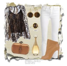 """""""Brown Lace"""" by astrild15 ❤ liked on Polyvore featuring Frame, Opening Ceremony, Casadei, Bottega Veneta, Christian Dior, Tacori and Lauren Ralph Lauren"""