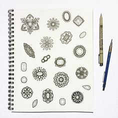 Edwardian Brooches sketchbook page by @jaymesloan