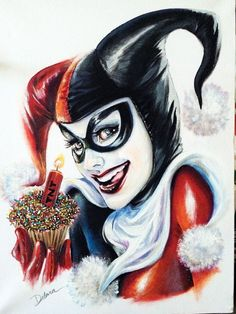 Harley Quinn by Cris Delara Dynamite/TNT sticks as wedding candles on the cake and for decorations. Harley Quinn Drawing, Joker Und Harley Quinn, Comic Book Characters, Comic Books Art, Comic Art, Pinup Art, Happy Birthday Harley, Model Tattoo, Es Der Clown