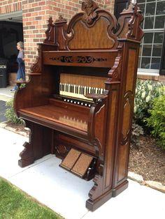 c.1879 New England Pump Organ Co. walnut and birdseye maple organ desk