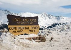Continental Divide - Loveland Pass (If a raindrop falls east of the divide, it will eventually flow through rivers to the Gulf of Mexico. A raindrop that falls west of the divide will make its way to the Colorado River and join the Pacific Ocean.