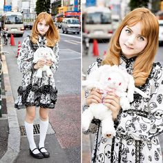 Tokyo-based YouTuber Venus Angelic (Venus Isabelle Palermo) on the street in Harajuku wearing an Alice and the Pirates skull-print dress with Tsumori Chisato flats and a cute Baby, The Stars Shine Bright rabbit cute