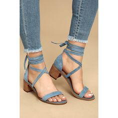 Steve Madden Rizzaa Light Blue Suede Leather Heeled Sandals