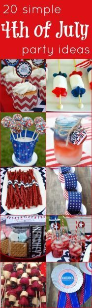 Try these crafts for your patriotic holiday. From desserts to decor! 20 Simple 4th of July Party Ideas. #4thofJuly #ideas #decor