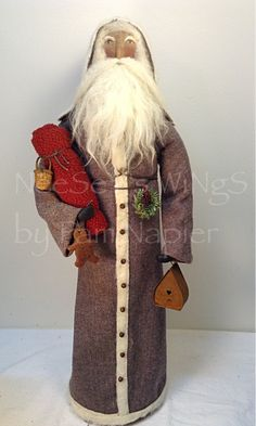 All my ability is from God.....NeeSeY's WiNgS by Pam Napier ❤️ St. Nicholas , Father Christmas, Primitive Christmas, OOAK , Soft Sculpture Santa, Belsnickle Style