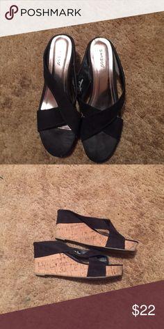 "Faux suede cork heel wedges Very cute! Faux suede criss cross wedges. 3.5"" cork heel Bamboo Shoes Wedges"