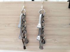 Horseshoe nail dangle earrings