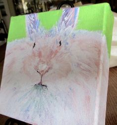 FAT CAT BUNNY..original painting by BonjBonCreations on Etsy, $25.00