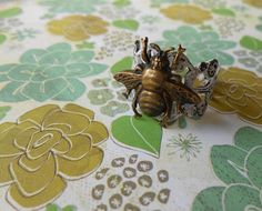 Bee Ring Bee Jewelry Antiqued White Patina by enchantedsquirrel, $15.00
