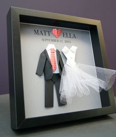 Personalized Wedding, Engagement, Anniversary, Bridal Shower Paper Origami Bride & Groom Shadowbox Frame Custom Gift by paintandpapercraft on Etsy