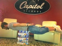 Jamie planking in the LA office. Red Bull gives you wings! haha