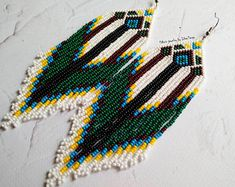 Seed bead earrings, earrings with fringe, fringe beaded earrings, native beaded earrings, beaded earrings, native seed beads, green earrings