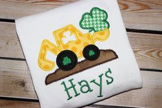 Personalized St. Patricks Day Shirt Backhoe by PerryWinklesEmb