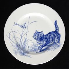 Kingston Lacy, Dorset. Cat plate. Handpainted, blue on white. Ca 1880s.