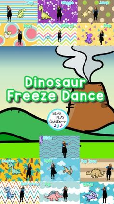 Nothing's more fun than a dinosaur Freeze Dance activity for your Preschool through 3rd grade students. Whether in music class, P.E., or other classes, students love to FREEZE DANCE! Movement Activities foster student engagement, listening, emotional health and brain connections as students have fun! Dinosaurs make it a roarin' good brain break and movement activity for everyone. Kindergarten Music Lessons, Preschool Music Activities, Writing Activities, Movement Preschool, Movement Activities, Elementary Music, Elementary Schools, Kids Songs With Actions, Freeze Dance