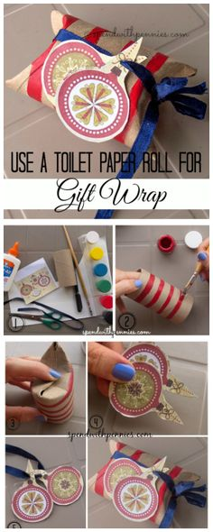 Here's a cute idea for gift wrap using and empty toilet paper roll!  (Paper towels would work too!). You probably have everything you need to make these!