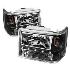 93-98 Jeep Grand-Cherokee 1PC LED Headlights - Pair (Black)