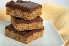 peanut butter oat bars with chocolate frosting