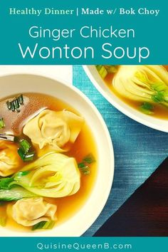 A light and fragrant soup recipe with ginger chicken stuffed wontons and bok choy. The filling is perfumed with spices, ginger, and scallions.  #soup #wontons #bokchoy #chicken #ginger #healthyrecipe Asian Recipes, Gourmet Recipes, Soup Recipes, Dinner Recipes, Healthy Recipes, Dinner Ideas, Ginger Chicken, Roasted Chicken, Roast Chicken Flavours