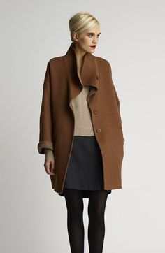 Eileen Fisher Alpaca Coat, Cashmere Sweater & Knit Skirt  available at #Nordstrom Love the winter coat!