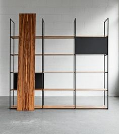 Jelle Baars and Associates; Enameled Metal and Veneered Plywood 'Modiste 900 Series' Shelving Unit, 2014.