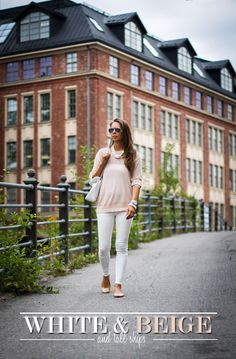 white and beige outfit with pearls and ballerinas
