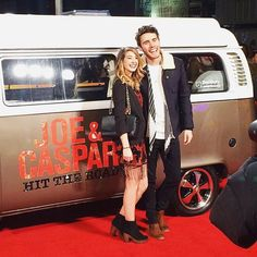 """""""Love this photo of @pointlessblog & I at the premiere for @caspar_lee & @joe_sugg new film #HitTheRoad! I am beyond proud of both of them for achieving so…"""""""