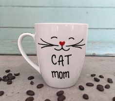 Cat Mug Cat Mom Cat Lover Gift Personalized Crazy Cat Lady Coffee Mug Cat Face…
