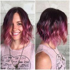 Raspberry Bob… By Butterfly Loft stylist Genai. Brown Ombre Hair, Purple Hair, Dark Pink Hair, Pink Short Hair, Raspberry Hair Color, Hair Addiction, Ombré Hair, Pinterest Hair, Grunge Hair