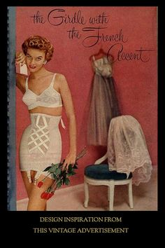 "Many of you have asked about the origin of the Monique Criss-Cross Girdle. We were first inspired by the Vintage Advertisement ""Girdle With A French Accent"" shown here and then began a search for the actual garment - which we found over a year ago - also shown on this board. The rest is as they say - History."