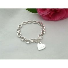 Heavy Linked Bracelet with Heart Charm.Over an ounce of sterling silver and bearing the Queen's Diamond Jubilee hallmark. Made in UK > http://www.madecloser.co.uk/jewellery-watches/womens-jewellery/heavy-linked-bracelet-heart-charm