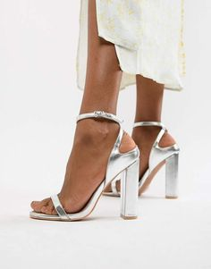 f309db1b12a96d Shop Lost Ink Wide Fit Silver Block Heel Ankle Strap Sandals at ASOS.