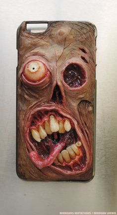 Undead iPhone 6 Plus snap on hard case, hand sculpted, OOAK (one of a kind)